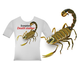 Scorpion screen on t-shirt vector on a white background