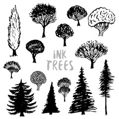 Trees silhouette vector. Inked hand drawn isolated set