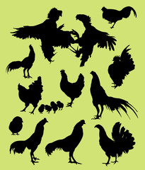 Rooster, hen, and chicken silhouettes