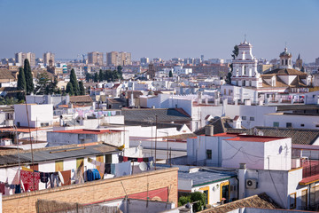 Aerial view of the roofs of Seville, Andalusia, Spain