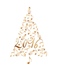 2016 christmas tree with golden metal musical notes isolated on white background