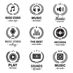 Music studio logos with wreaths vintage vector set. Hipster and retro style. Perfect for your business design.