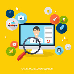 Online medical consultation concept. Vector modern creative flat