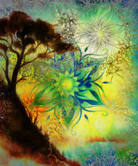 Painting sunset, and trees, wallpaper landscape and ornamental mandala. Oriental background collage, green, yellow, black color.