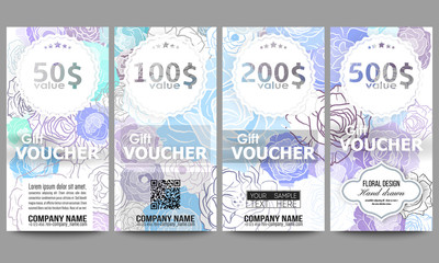 Set of modern gift voucher templates. Hand drawn floral doodle pattern, abstract vector background