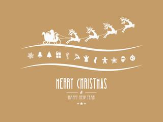 merry christmas elements santa sleigh gold background