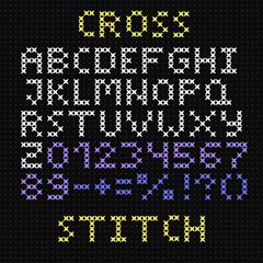 The Latin alphabet. Large English letters. Cross-stitch.
