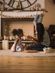 Deurstickers Ontspanning Mother and Daughter