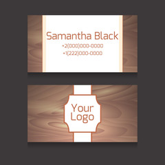 Set of double-sided business card with wooden texture