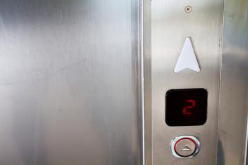 Inside the closed elevator