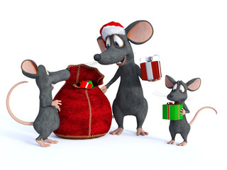 Cartoon mouse Santa handing out presents to kids.