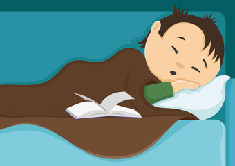 Man sleeping after reading a book