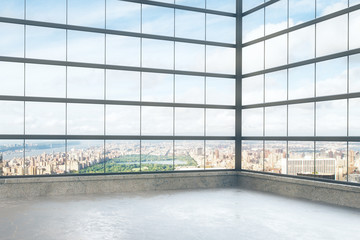Fototapete - Empty loft style room with glassy windows and city view