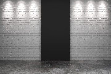 Black part of white brick wall with concrete floor in empty room