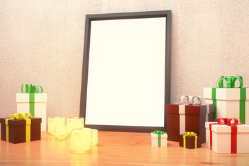 Blank picture frame  with gift boxes and glowing candlesticks on