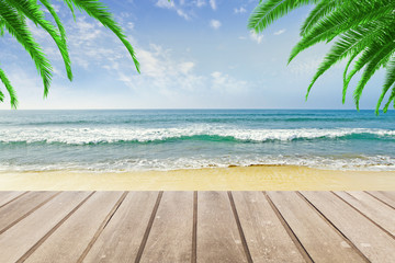 Wooden bench at beach background