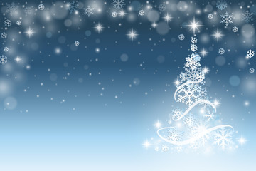 CChristmas tree background with snowflakes