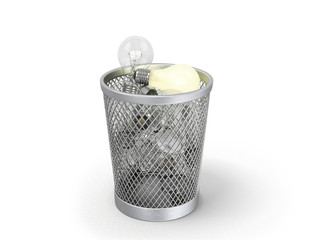 concept of not estimated idea; glowing light bulb in the bin wit