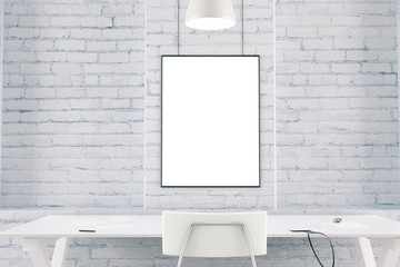 White interior with table, chair, brick wall and blank picture f