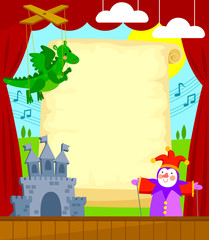Puppet theater with blank scroll for caption