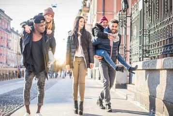 Friends walking on the streets