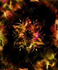 oriental ornamental mandala and color abstract background with fire flame.