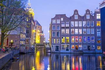 Aluminium Prints Autumn Medieval houses in Amsterdam the Netherlands at twilight