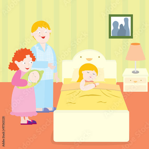 """the parents are saying goodnight to their daughter."""" stock image and"""
