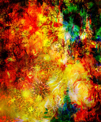 oriental ornamental mandala and color abstract background with fire flame, LAVA structure. Earth Concept. Red, green, yellow, black color