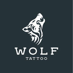 Wolf howling  the moon in style of tattoos  flat one color logo mark, quality pro illustrations