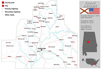 Large and detailed map and infos about Bibb County in Alabama.