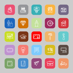 Art and creation line flat icons