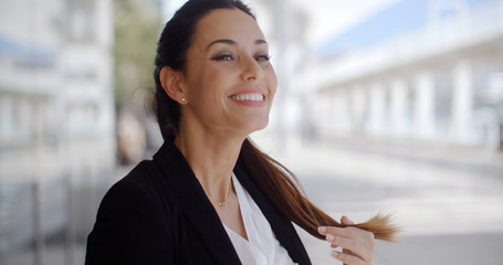 Smiling Beautiful Business Woman Standing