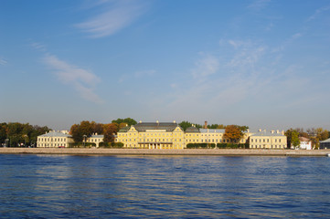 views of University embankment and Menshikov Palace, St. Petersburg, Russia