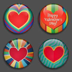 Color Heart with place for pictures or text. Hearts 3D Buttons with shadows. Modern Retro style. Great for Valentine's Day, Mother's Day, Vector icons, labels