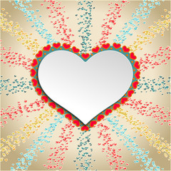 Color Background with Heart Confetti and Frame in the form of Heart for your pictures and text. Great for baby announcement, Valentine's Day, Mother's Day, Easter, wedding, scrapbook, photo album