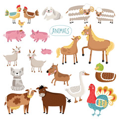 Illustration of farm animals.