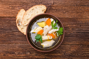 Soup with chicken and vegetables.