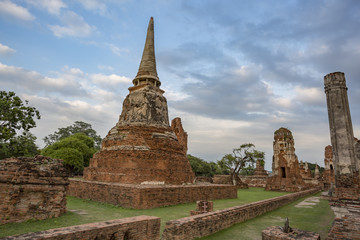 Thailand,Ayutthaya. Wat Phra Mahathat temple remnants.