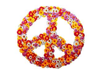 Peace Icon mit Gelben, Roten und Violetten Margeriten Blumen