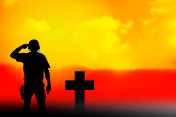 Soldier and grave cross silhouettes
