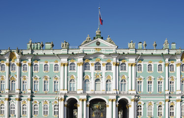 building of Hermitage Museum closeup, St. Petersburg, Russia