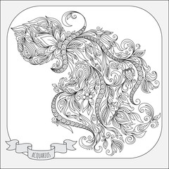 Hand drawn pattern for coloring book zodiac Aquarius.