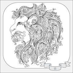 Hand drawn pattern for coloring book zodiac Leo.
