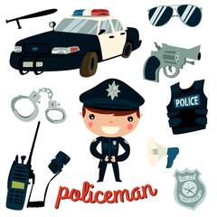 policeman kid set. car, gun, glasses, handcuffs, radio transmitter, police counter.