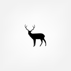 Vector silhouette of the deer isolated on white background