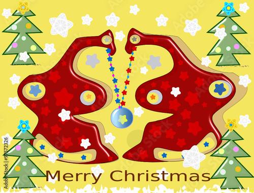 """""""Paisaje de navidad con árboles de navidad adornados con"""