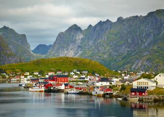 Garden Poster Scandinavia Reine fishing village. Lofoten Islands, Norway