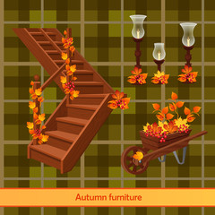 Elements of the autumn scenery, decor and management
