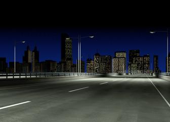 leere Brücke bei Nacht mit Skyline im Hintergrund